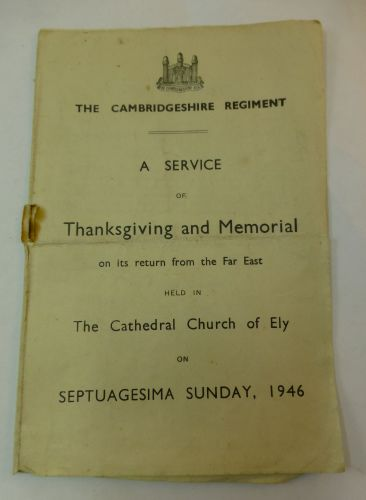 WW2 Cambridgeshire Regt service of Thanksgiving