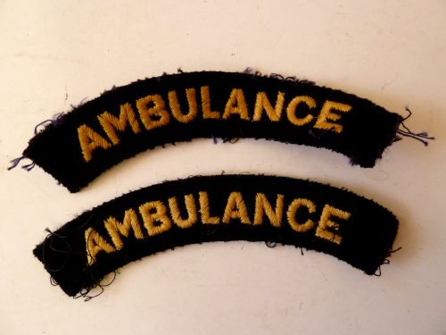 Original WW2 Civil Defence Ambulance Cloth Shoulder Titles