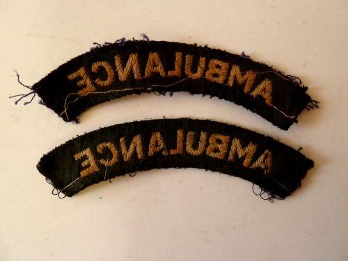 Original WW2 Civil Defence Ambulance Cloth Shoulder Titles