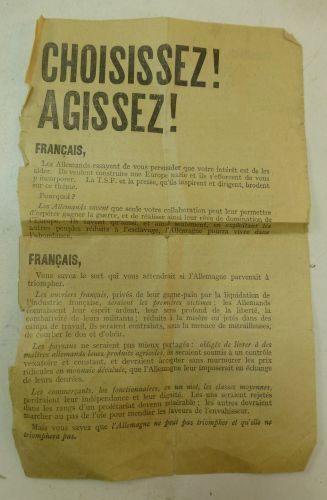 Tatty Original WW2 British Air Drop Leaflet In French