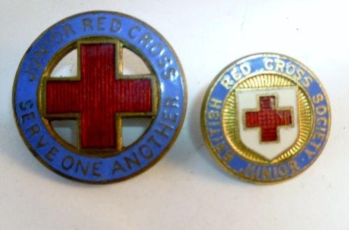 A Pair of Vintage Junior Red Cross Enamel badges