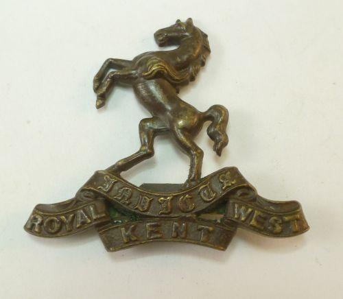 WW1 WW2 Royal West Kent Officers Bronze Cap Badge