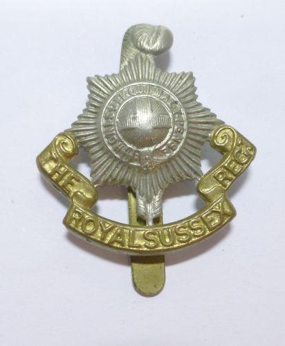 WW1 WW2 Royal Sussex Regt Bi Metal Cap Badge