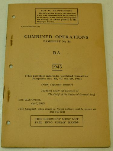 Combined Ops Pamphlet 34 Royal Artillery 1943