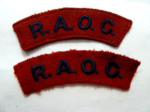 Original Pair Of WW2 Royal Army Ordnance Corps Cloth Titles