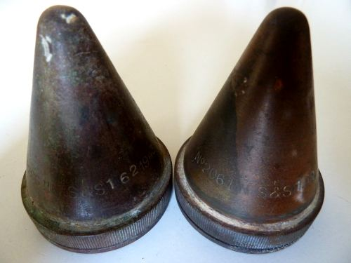 Matching Pair Of WW2 Shell Fuse Transit Caps 1943