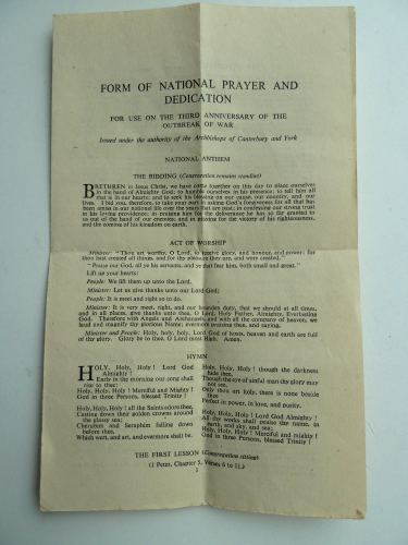 WW2 Leaflet National Prayer & Dedication 3rd September 1942