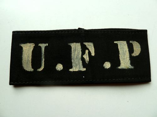 Unidentified WW2 Cloth Armlet Armband Marked UFP Police?