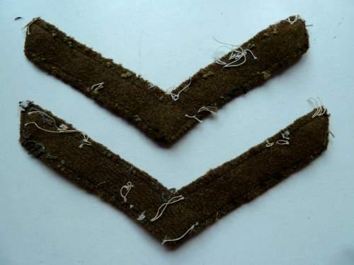 WW1 WW2? Hand Painted Lance Corporal Rank Stripes Pair