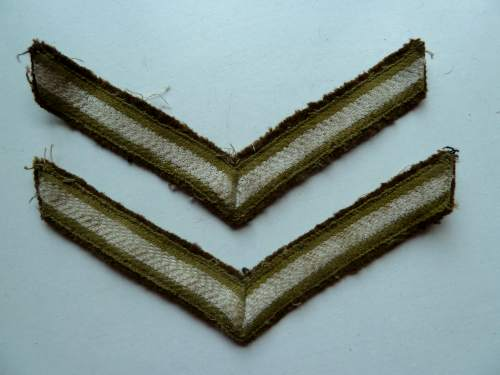 WW1 WW2? Hand Painted Lance Corporal Rank Stripes Pair