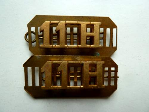Original WW1 WW2 11th Hussars Brass Shoulder Title Pair