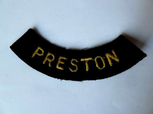WW2 ARP & Civil Defence Breast Title For PRESTON