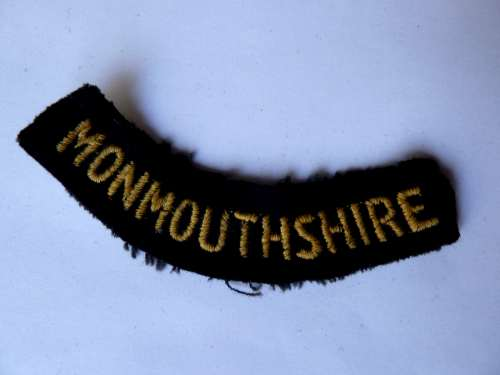 WW2 ARP & Civil Defence Breast Title For MONMOUTHSHIRE