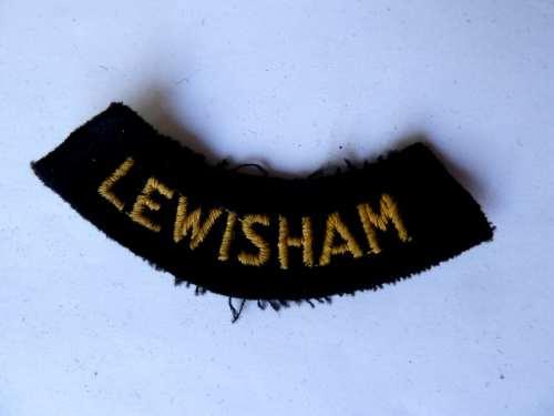 WW2 ARP & Civil Defence Breast Title For LEWISHAM