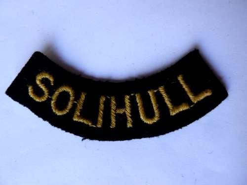 WW2 ARP & Civil Defence Breast Title For SOLIHULL
