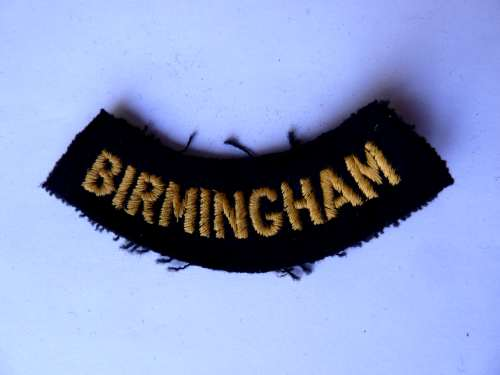 WW2 ARP & Civil Defence Breast Title For BIRMINGHAM