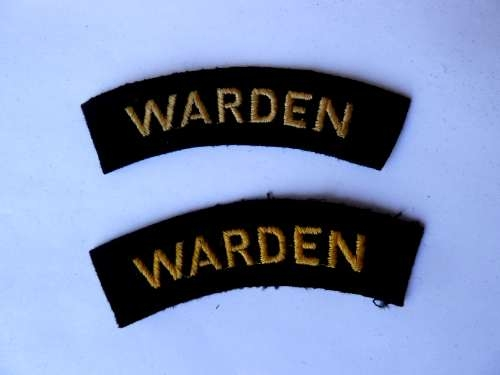 WW2 Air Raid Warden Shoulder Titles