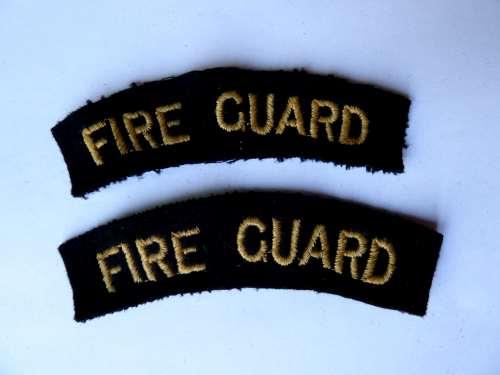 WW2 Civil Defence Fire Guard Shoulder Titles