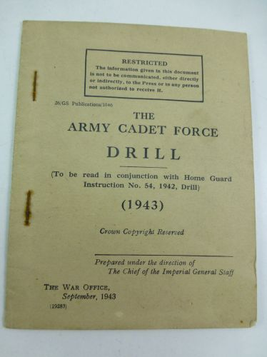 Original 1943 Dated Army Cadet Force Drill Pamphlet