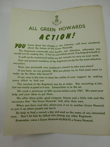Small original Green Howards Recruiting Poster 1960s