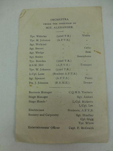 WW2 Pantomime Programme D&M Wing AFV School Bovington