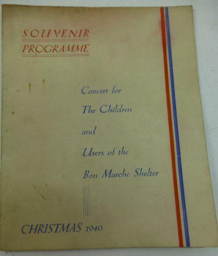 Christmas 1940 Souvenir Programme Bon Marche Air Raid Shelter