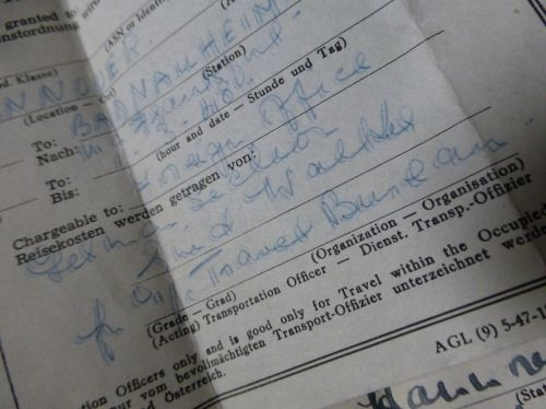 1948 Dated US Forces Rail Travel Authorisation Receipts Germany