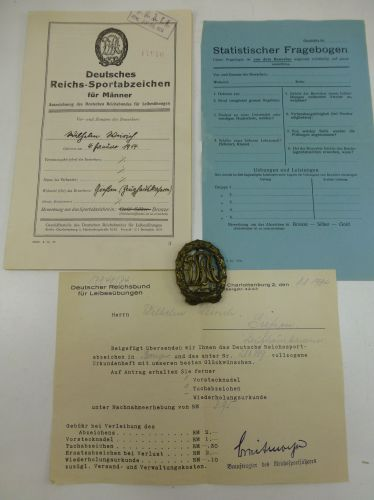 Original German Military Sports Badge & Paperwork From 1934