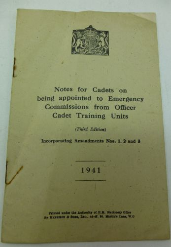 1941 Notes For Cadets Appointed Emergency Commissions OCTU