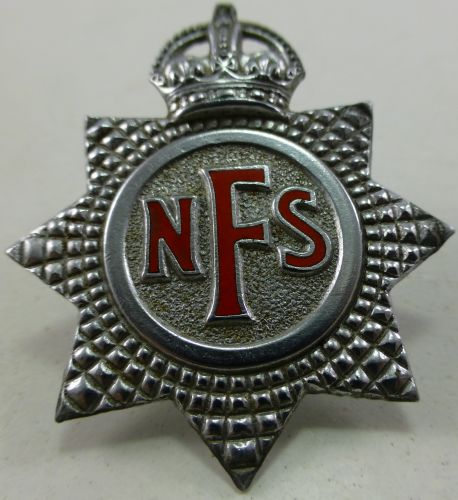 WW2 National Fire service Cap Badge with Hollow Back