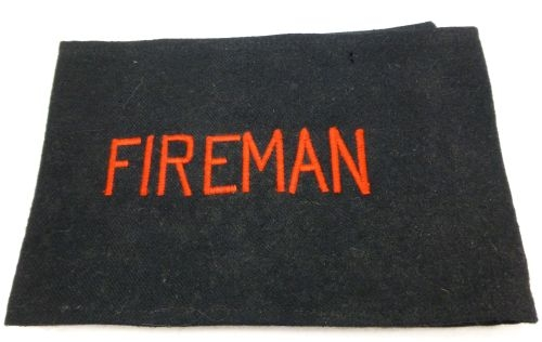 WW2 Home front Issue Fireman Armlet red on black/blue