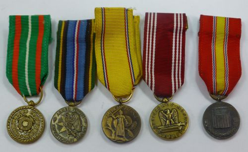 5 Original WW2? US Miniature Military Medals