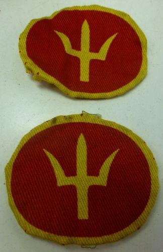 Original WW2 44th Division Printed Cloth Badge Pair