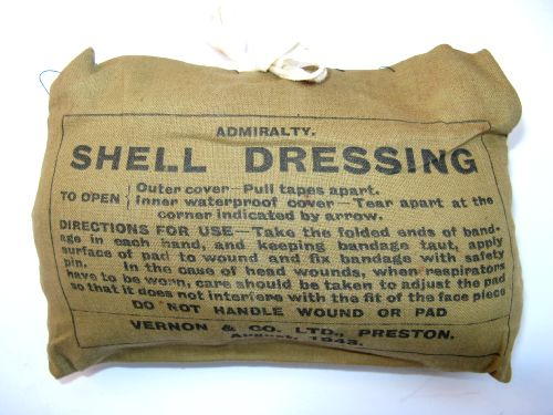 Unusual WW2 Royal Navy Issue Large Shell Dressing
