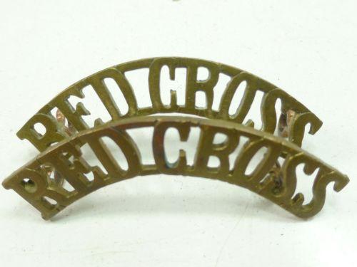 WW2 Era Red Cross Brass Shoulder Titles