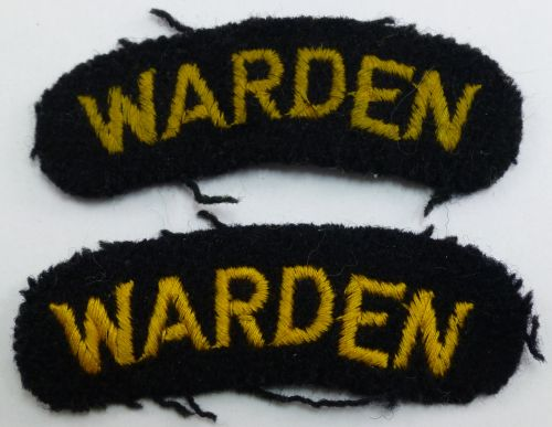 Original WW2 Air Raid Wardens Cloth Shoulder Titles