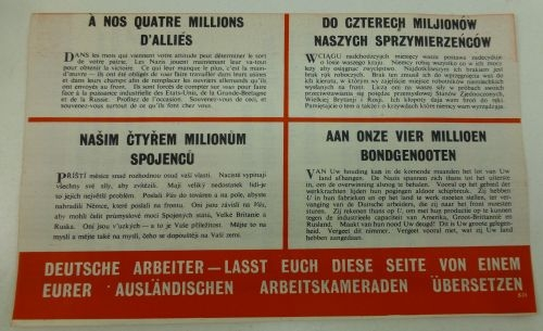 WW2 Brit Air Drop Leaflet German, French, Polish, Czech & Dutch