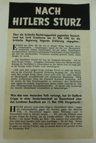WW2 British Air Drop Leaflet In German Nach Hitler's Sturz