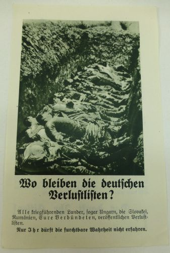 WW2 British Air Drop Leaflet In German Showing Mass Grave