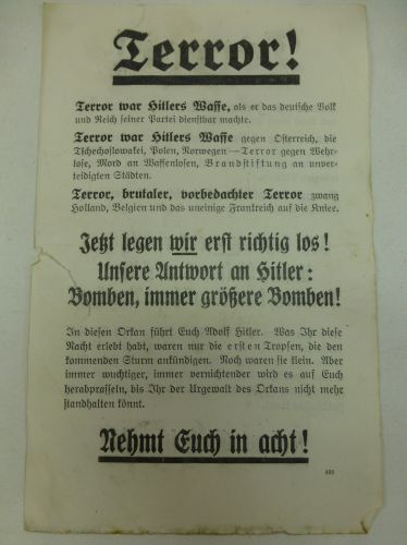 "WW2 British Air Drop Leaflet in German ""TERROR"""