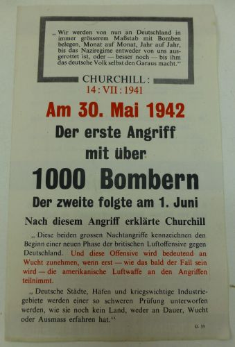 Wartime British Leaflet Dropped Over Germany 1942