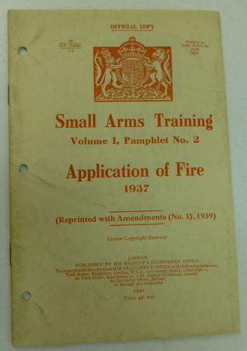 1937 SAT Volume I Pamphlet No 2 Application of Fire