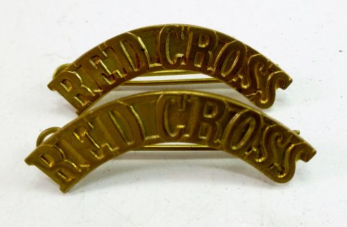 WW2 Red Cross Brass Shoulder Titles