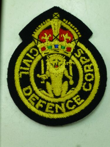 Original kings Crown Civil Defence Corps Cloth Badge