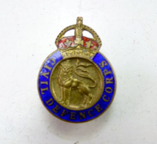 Original Brass & Enamel Civil Defence Corps Badge