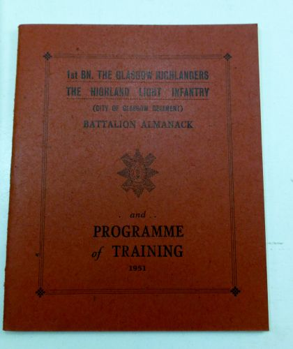 1st Bn The Glasgow Highlanders Programme of Training