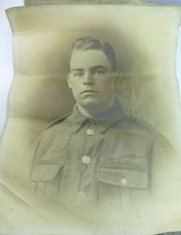 Large WW1 Photograph of Handsome Soldier