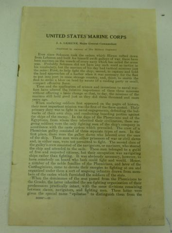 United States Marine Corps History dated 1925