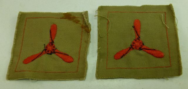 WW2 Era RAF Tropical Issue Propeller Cloth Badge Pair