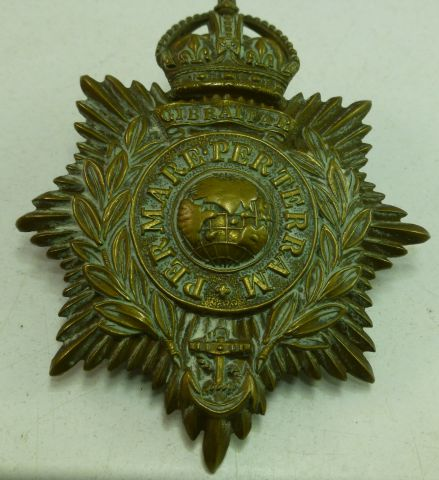 Original WW1 WW2 Royal Marines Pith Helmet Badge